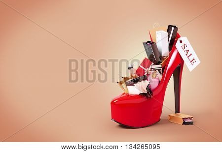 Fashion purchases into a woman's shoe. Sale. 3D illustration or 3D rendering