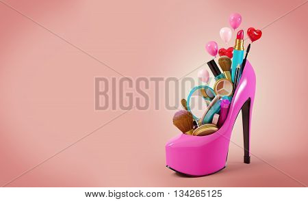 Cosmetics set into a woman's shoe. Fashion illustration. 3D illustration or 3D rendering