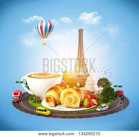 Breakfast in Paris. Traveling background. 3D illustration or 3D rendering
