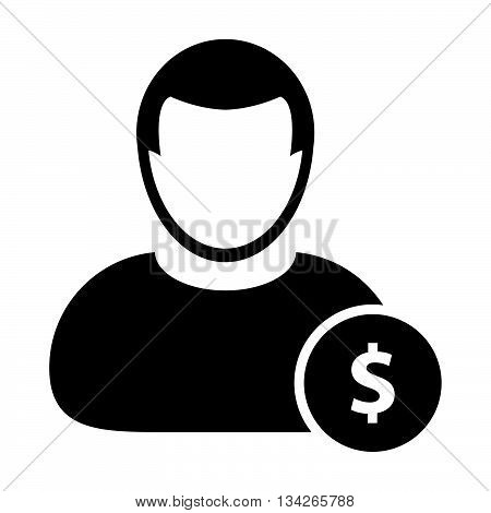 User Icon - User with Dollar, Money, Earnings, Banking, Finance, Investment Icon in Glyph Vector Illustration