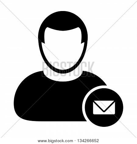 User Icon - Email, Communication, Contact, Message User Icon in Glyph Vector Illustration