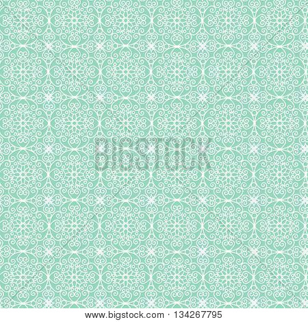 White patterned net lace on green background