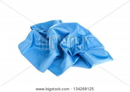 New Blue Microfiber Cloth Isolated On White
