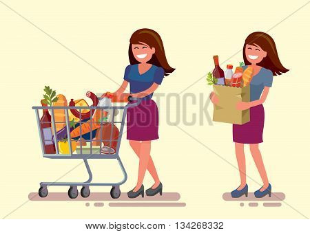 vector woman in supermarket with shopping cart