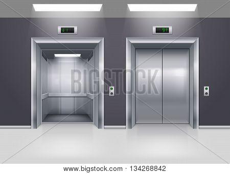 Open and Closed Modern Metal Elevator Doors on Floor