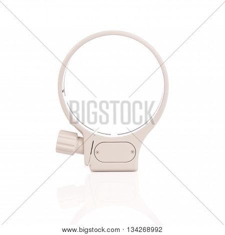 White Tripod Lens Collar Mount Ring Isolated In White