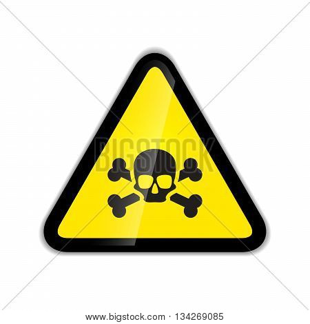 Bright skull and bones warning sign modern icon with shadow isolated on white