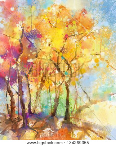 Watercolor painting colorful landscape. Semi- abstract watercolor landscape image of tree in yellow orange and red with blue sky background. Spring summer season nature watercolor background