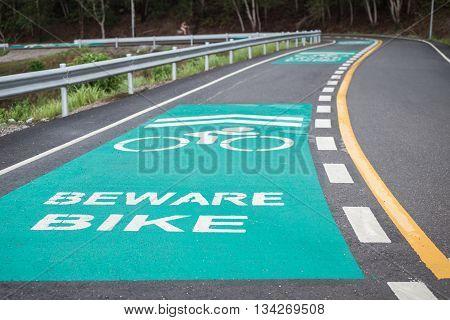 Green Bicycle Lanes On The Asphalt Road