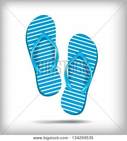 A pair of flip-flops isolated on a white background. Vector illustration. Blue white stripe, shoes for summer