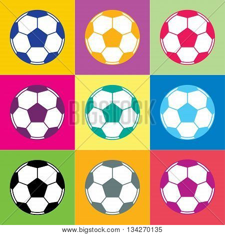 Soccer ball. Pentagons and hexagons forming a ball round shape. Vector icon
