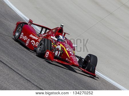 Ft Worth, TX - Jun 10, 2016:  Scott Dixon (9) brings his car through the turns during a practice session for the Firestone 600 at Texas Motor Speedway in Ft Worth, TX.