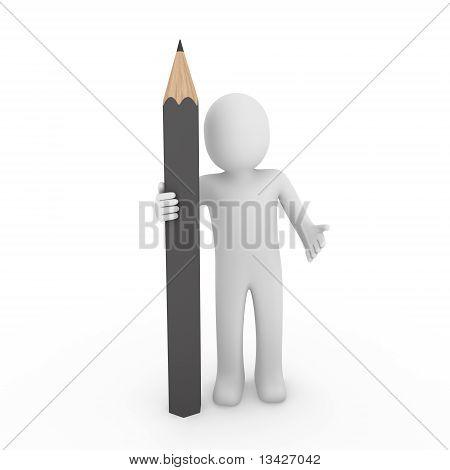 3D Human Gray Pencil