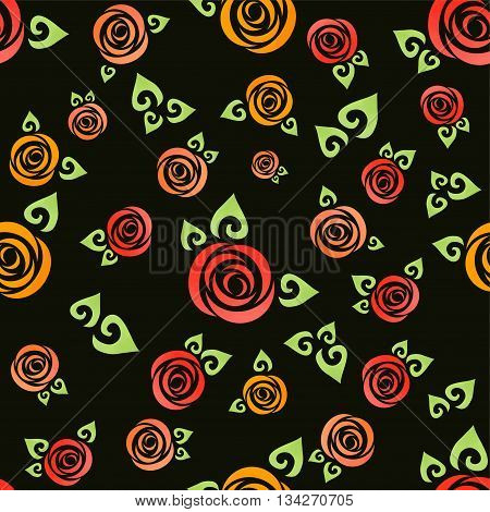 Flower seamless pattern vector. Floral print with abstract roses.
