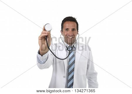40s attractive male medicine doctor holding stethoscope wearing medical gown standing proud smiling happy and confident in corporate portrait isolated on white background
