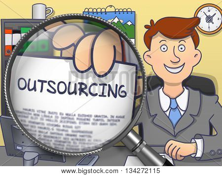 Outsourcing on Paper in Business Man's Hand through Magnifying Glass to Illustrate a Business Concept. Colored Modern Line Illustration in Doodle Style.