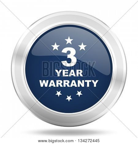 warranty guarantee 3 year icon, dark blue round metallic internet button, web and mobile app illustration
