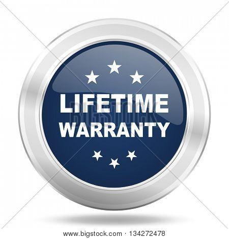 lifetime warranty icon, dark blue round metallic internet button, web and mobile app illustration