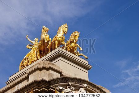 Chariot of Aurora on top of the Cascada font in Ciutadella Parc in Barcelona Spain.