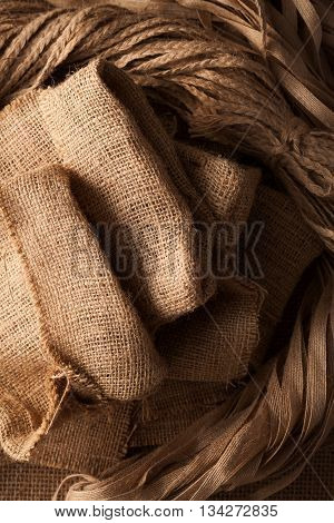 Rope Flax Sack Still Life Sackcloth Background