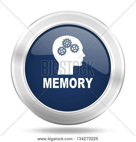 memory icon, dark blue round metallic internet button, web and mobile app illustration