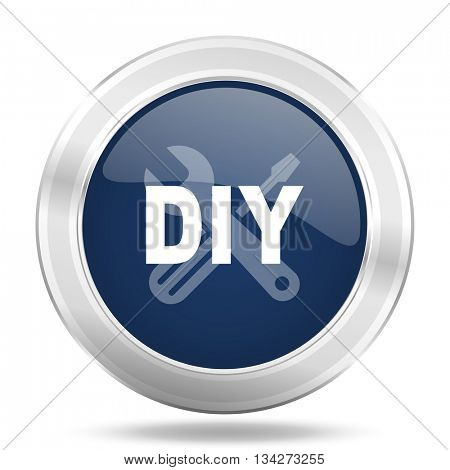diy icon, dark blue round metallic internet button, web and mobile app illustration