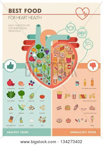 Human heart with healthy fresh vegetables on one side and junk unhealthy food on the other side healthy food for heart infographic