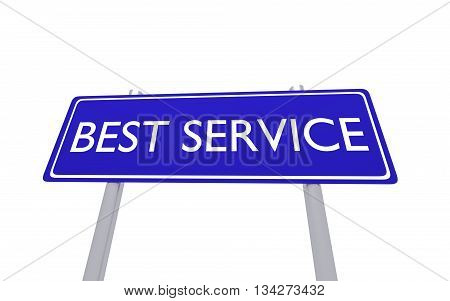 Blue sign best service isolated on the white background