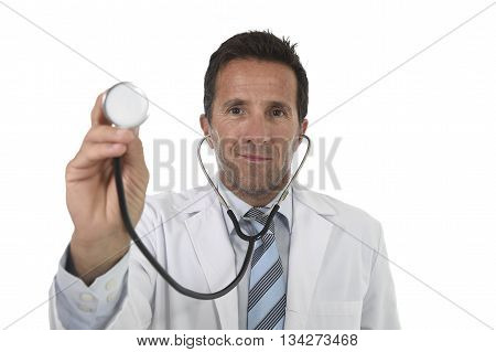40s attractive male medicine doctor in medical gown with close up hand holding stethoscope standing proud smiling happy and confident in corporate portrait isolated on white background