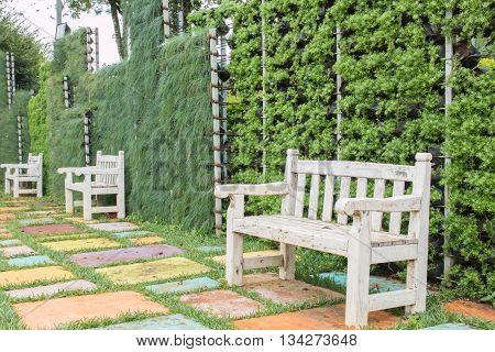 Old white wooden chair in the garden and relax.