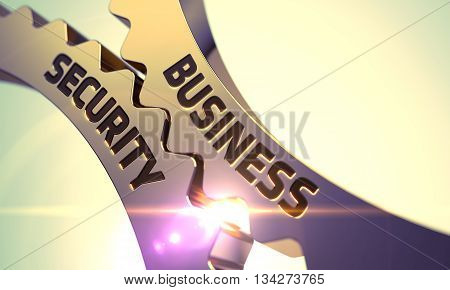 Business Security on Mechanism of Golden Gears with Glow Effect. Business Security - Illustration with Glowing Light Effect. Business Security - Concept. 3D Render.