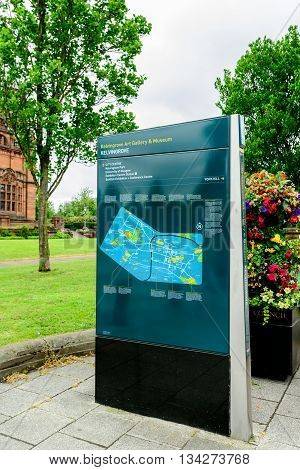 GLASGOW SCOTLAND - JUNE 13 2016: Visitor information point in the west enf of Glasgow Scotland.
