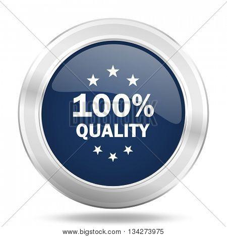 quality icon, dark blue round metallic internet button, web and mobile app illustration