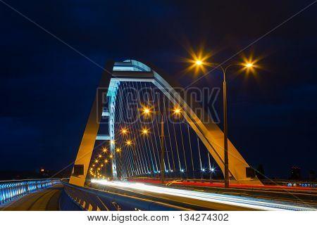 Apollo Bridge in Bratislava at night Slovakia