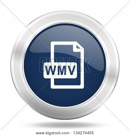 wmv file icon, dark blue round metallic internet button, web and mobile app illustration