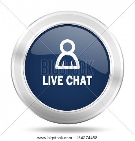 live chat icon, dark blue round metallic internet button, web and mobile app illustration