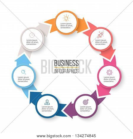 Circular arrows for infographics. Chart, graph, diagram with 7 steps, options, parts. Vector business template.