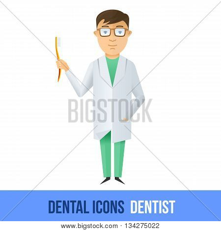 Vector flat dental icon. Dentist. Brochures, advertisements, manuals, technical descriptions. Isolated on a white background.