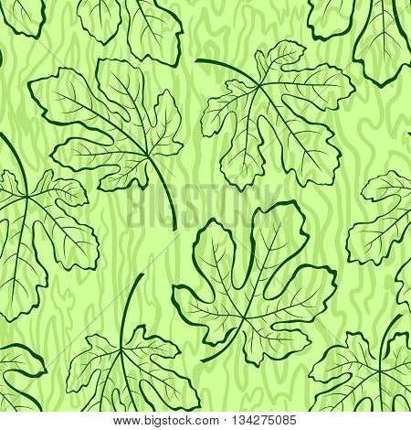 Seamless Tile Background, Fig Tree Green Leaves and Abstract Pattern. Vector