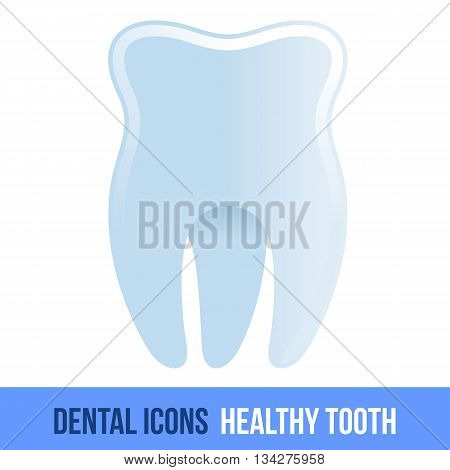 Vector flat dental icon. Healthy tooth. Brochures, advertisements, manuals, technical descriptions. Isolated on a white background.