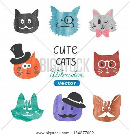 Cute cats set. Watercolor cats heads isolated on white. Vector illustration. Funny cats collection.