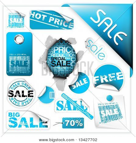Set of blue sale tickets, labels, stamps, stickers, corners, tags