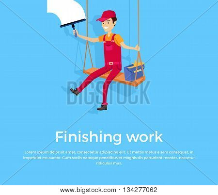 Finishing work design banner concept flat style. Construction finished work climber isolated on a blue background. Renovation and repair finish, job success done building, vector illustration