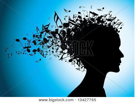 Woman portrait silhouette with notes as hair