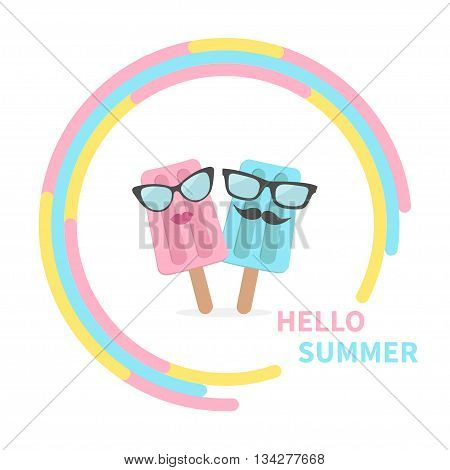 Ice cream couple with lips mustaches and eyeglasses in the circle. Hello summer greeting card. Flat design Vector illustration.