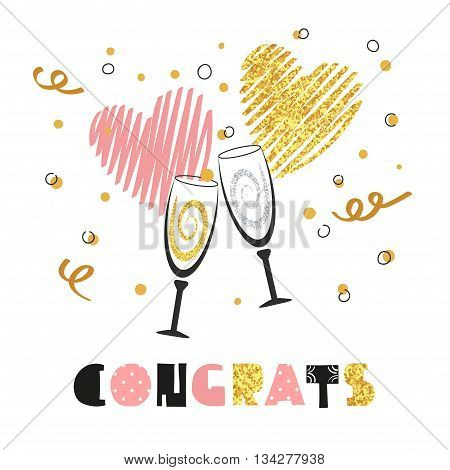 Celebration background with two champagne glasses. Glittering card design for birthday, party invitation, anniversary. Congrats lettering. Vector celebration background.