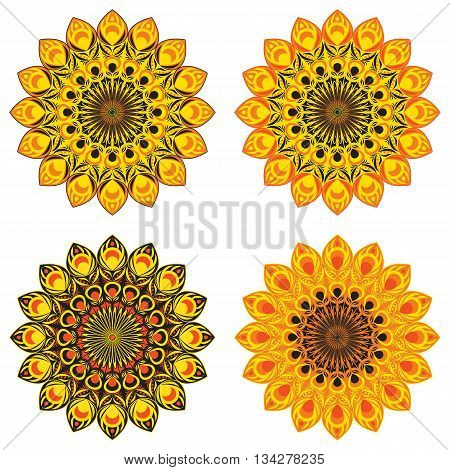Set of vector ethnic circular patterns or mandalas with elements of red peacook or fire bird tail in oriental style. Or set of sunflowers in abstract style for print, design, textile.