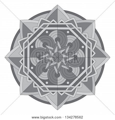 Circular pattern or mandala on isolated background. Mix of design celtic pattern, Islamic style, african motive.