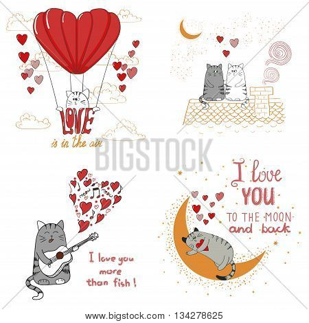 Cute cats in love. Set of funny cartoon cats isolated on white background. Romantic vector illustrations for birthday cards, invitations, Valentine`s Day design.