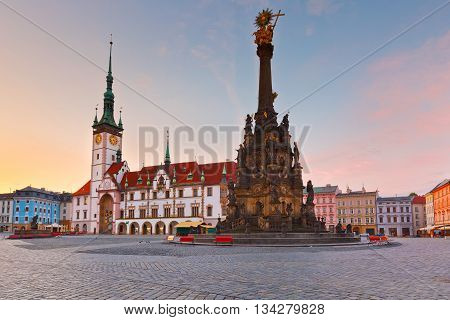 Town hall and Holy Trinity Column in the main square of the old town of Olomouc, Czech Republic.